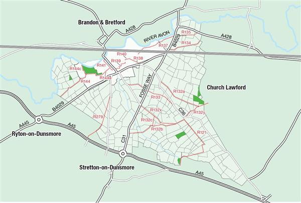Map of footpaths in Wolston